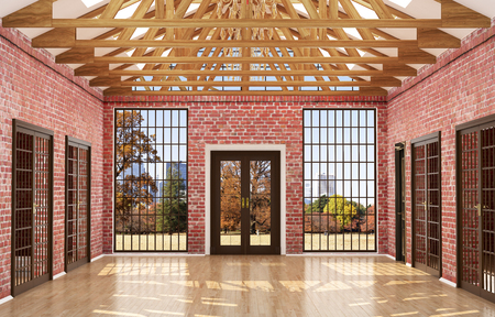 lege kamer in een loft stijl, met rode bakstenen muren, grote houten ramen en deuren. 3d illustratie