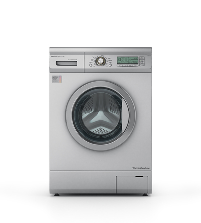 color 3d: Closed modern washing machine in metallic color. 3d illustration Stock Photo