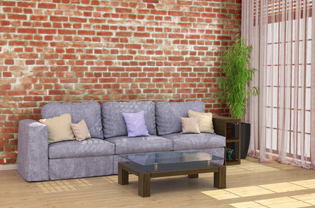 loft interior: Loft interior with brick wall sofa and coffee table by the window. 3d illustrations Stock Photo