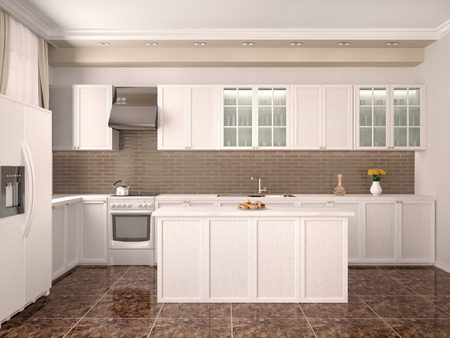 modern kitchen: modern style kitchen interior. 3d illustration.