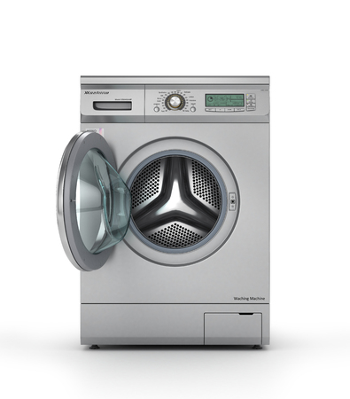color 3d: Opened modern washing machine in metallic color. 3d illustration