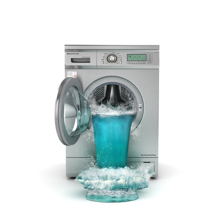 Broken washing machine. The waterfall follows from open window of washing machine. 3d illustration