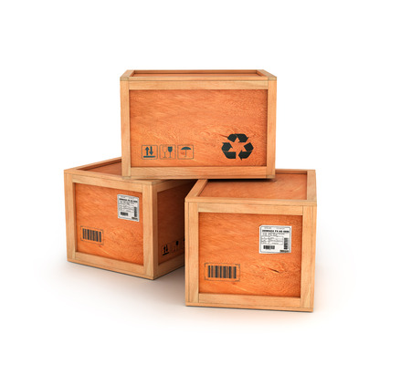 boxed: wooden delivery boxes isolated