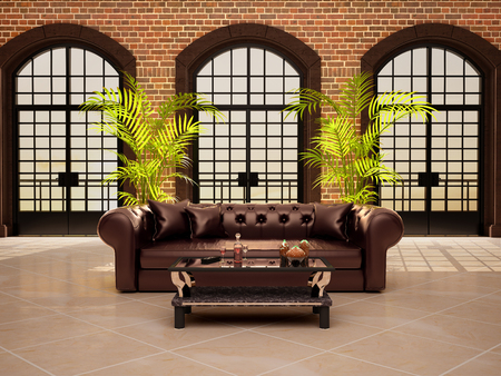 arched: living room with large arched windows. 3d illustrtion.