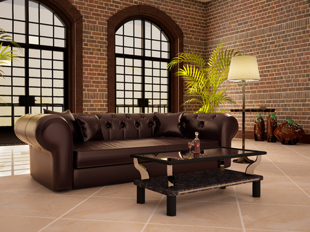 mediterranean homes: Living in a loft style with large arched windows. 3d illustration. Stock Photo