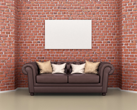 leather sofa: Leather sofa on a background of a brick wall, empty picture on the wall. 3d illustration
