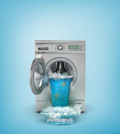 세척의 개념입니다. 깨진 세탁기. 폭포는 세탁기의 열린 창문을 따라갑니다. 3D 그림