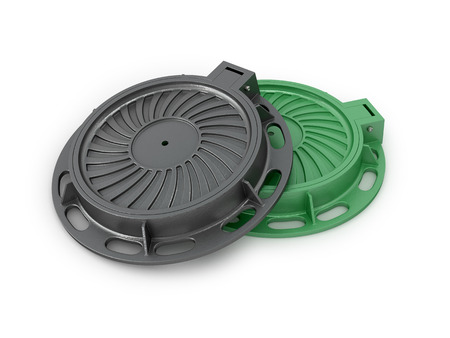 sewer: Manhole Covers. Sewer manholes on a white background. 3d illustration Stock Photo