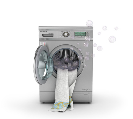 launderette: Concept of washing. The white towel lies in open washing machine with splashes foam and bubbles. 3d illustration