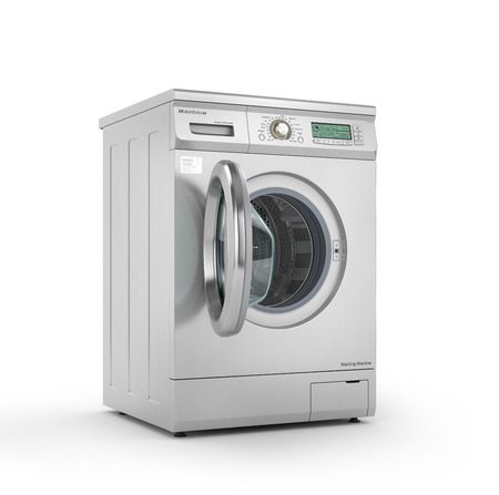 carga: Abrió lavadora moderna en color metálico. 3d ilustración