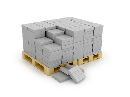 paving: Paving on pallet, isolated white background. 3d illustration Stock Photo