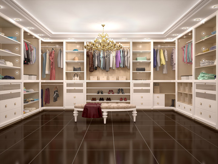 interior shelving: luxury wardrobe in modern style. 3d illustration. Stock Photo