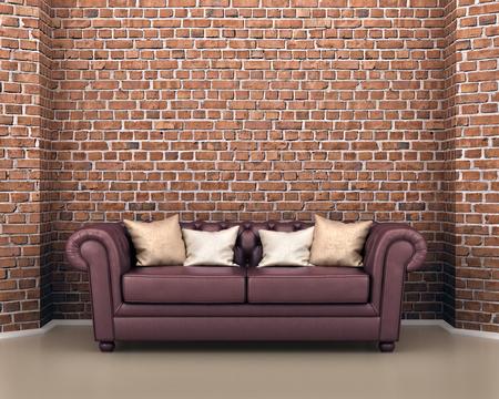 Leder-Sofa auf einem Hintergrund von einem Ziegelstein. 3D-Darstellung