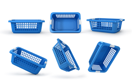 house clearance: Set of empty baskets for clothes. 3d illustration