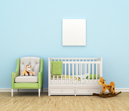 Children's room with a bed, sofa, toys, empty white painting for photos against the backdrop of a blue wall. 3d illustration Foto de archivo