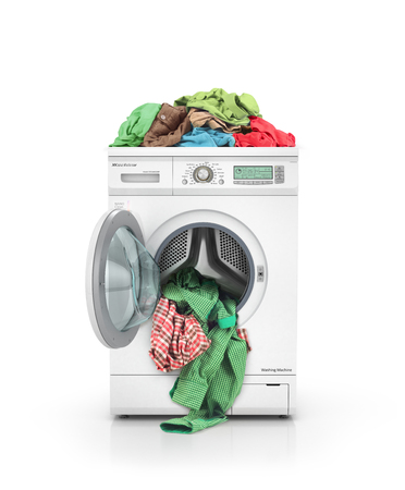 drycleaning: Clothes falling out of the washing machine with clothing on machine isolated on white background