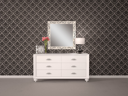 chest wall: Mirror and chest of drawers in a modern style and sophistication. 3d illustrtion.