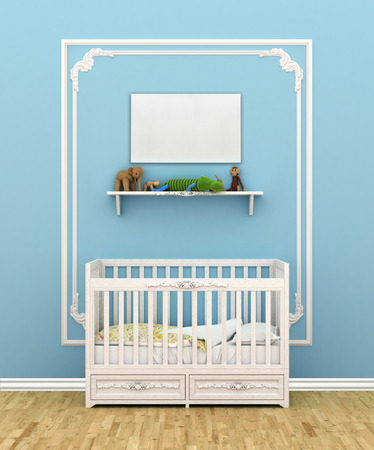 window shade: Classic children room with cradle. 3d illustration