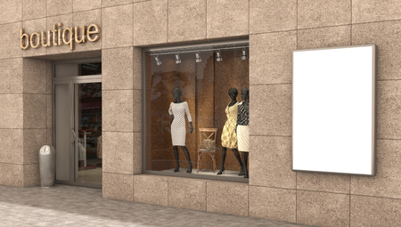 clothing store: store exterior, 3d illustration