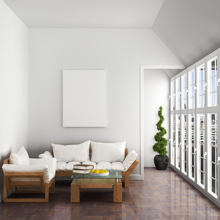modern interior design: Interior, sofa, armchair, large windows, beautiful attic, parquet flooring in the living room, blank white canvas on the wall. 3d illustration