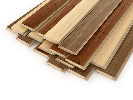 Set laminate planks on a white background. 3d illustration Imagens