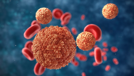 erythrocytes: Zika virus in blood with red blood cells, a virus which causes Zika fever found in Brazil and other tropical countries Stock Photo