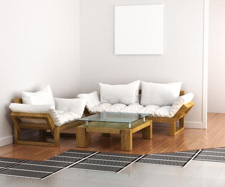 floor coverings: Warm floor. System underfloor heating in the interior. 3d illustration