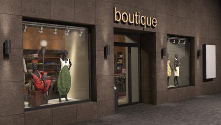boutique display: store exterior, 3d illustration