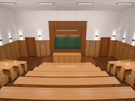 panelled: An empty modern lecture style university classroom. 3d illustratiuon.