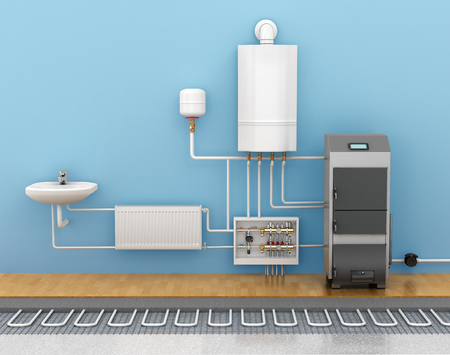 heat sink: underfloor heating, heating systems in home. 3d illustration