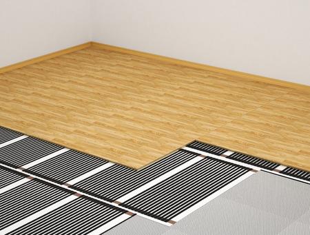 暖房システムの概念。寄木細工の床の下でフィルムの内部にフィルムを加熱します。3 d イラストレーション 写真素材