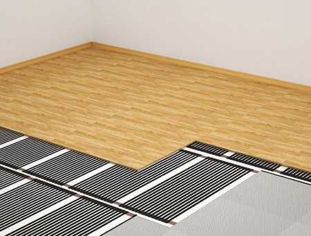 concept of the heating system. Heating film in the interior of the film under the parquet. 3d illustration Stock Photo