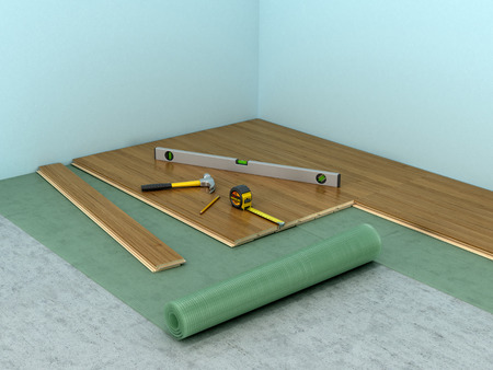 installing: The process of laying laminate flooring in the room. 3D illustration