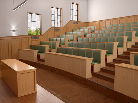 panelled: Empty modern style of lecturing of the University in the class with green seats. 3d illustration.