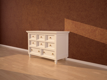 chest wall: light beige chest of drawers in the interior on the background of dark brown wall. 3d illustration. Stock Photo