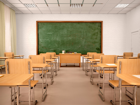 bright empty classroom for lessons and training. 3d illustration.