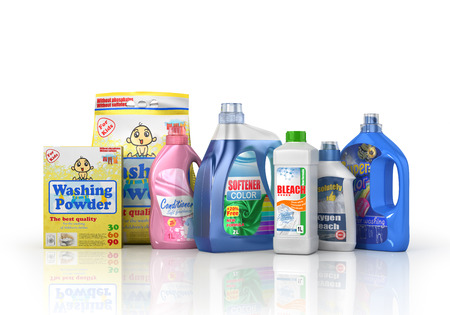washing powder: Plastic detergent bottles and washing powder on white background. Cleaning products. 3d illustration