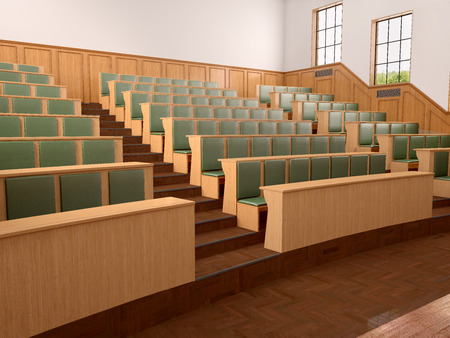 wood panelled: Empty modern style of lecturing of the University in the class with green seats. 3d illustration.