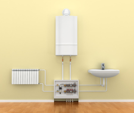 floor heating: floor heating system, the collector, the battery. 3d illustration