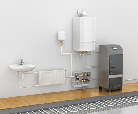 Concetto dello schema del sistema di riscaldamento. Trascorrere un pavimento caldo sotto il laminato o piastrelle in bagno. riscaldamento a pavimento elettrico. illustrazione 3D
