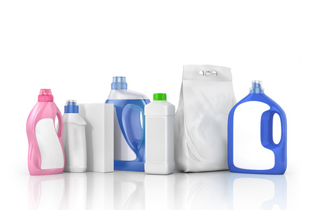 washing powder: Washing concept. Set of bottles of detergent and washing powder with blank labels. 3d illustration