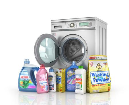front loading: Washing concept. Detergents bottles and washing powder near washing machine on white background. 3d illustration