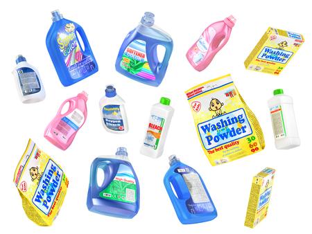 dishwashing liquid: Set of flying detergent bottles and washing powders isolated on a white background. 3d illustration