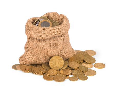 bonanza: Bag with coins on white background Stock Photo