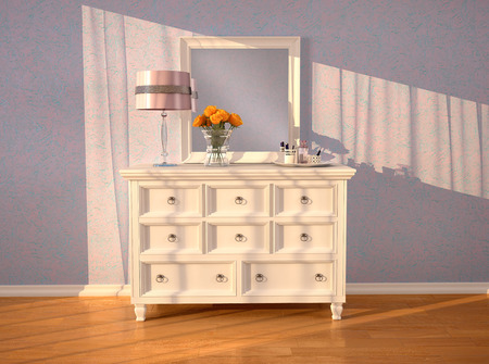 dresser: White dresser with a mirror in the interior. 3d illustration.