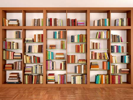 Wooden and glass shelves with different books. Library. 3d illustration. Stok Fotoğraf