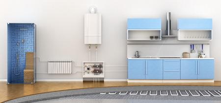 Alternatieve verwarming vloerverwarming. Regeling van de warmte-uitwisseling spoel. 3d illustratie