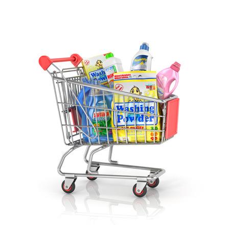 Zakup artykułów gospodarstwa domowego. wózek na zakupy pełen butelek detergentów i proszków do prania. 3d ilustracji