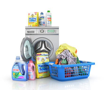 drycleaning: Concept of big washing. Set of bottles of detergents and washing powders with open washing machine and basket full of clothes. 3d illustration Stock Photo