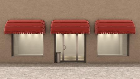 forepart: store exterior, 3d illustration